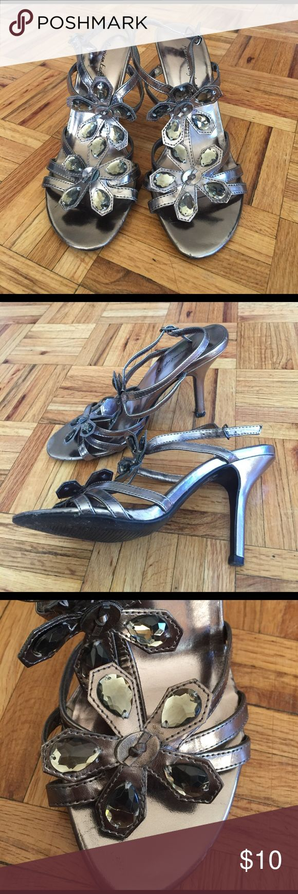 """Strappy heels size 7 Strappy 3.5"""" heels size 7, all man made materials. Worn a few times, but in excellent condition. Great for a night out! American Eagle by Payless Shoes Heels"""