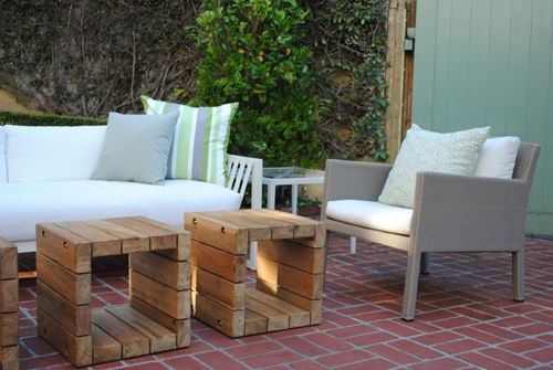 Seacliff Residence - Modern rustic wood cubes for side tables, coffee tables, or benches