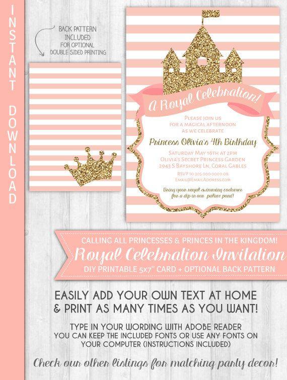Princess Invitations Princess Party Invitation Gold Glitter Blush Pink Princess Birthday Party Royal Baby Shower by WonderBash
