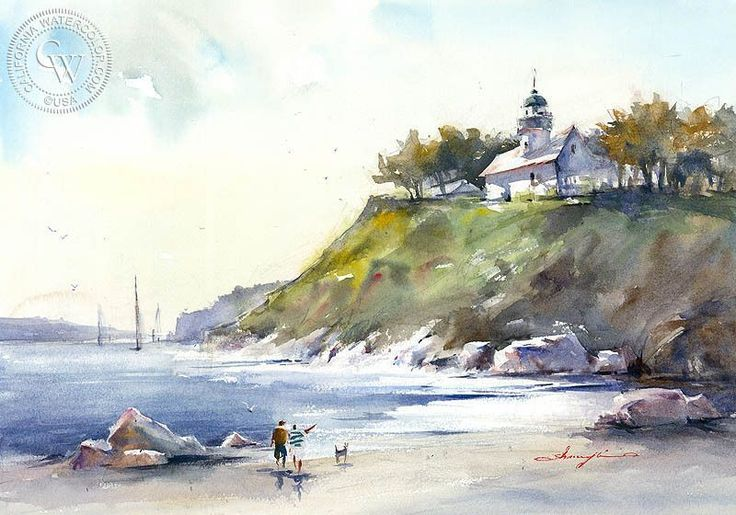 Point Loma in Distance, a watercolor painting by Shuang Li, available as a high-definition giclee art print on Arches watercolor paper.