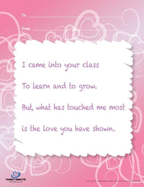 Teacher Appreciation Poems | Teacher Appreciation Note for Girls