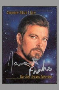 Jonathan Frakes Signed Star Trek Card ~ Commander William T. RIker
