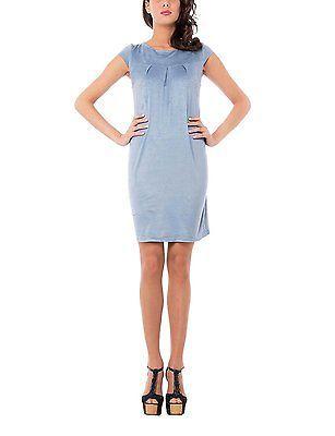 Large, blue (Indaco), Isabella Roma Women's Abito Mezza Manica Dress NEW