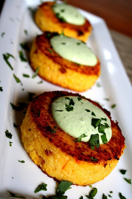 Chorizo Grit Cakes with Cilantro Cream