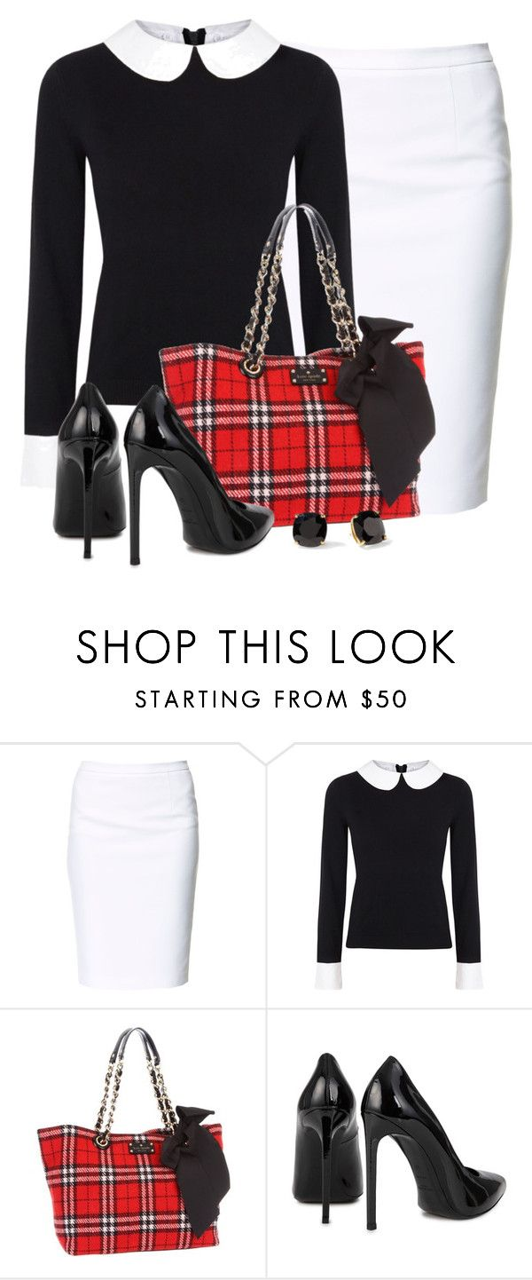 """Kate Spade Plaid Tote"" by wishlist123 ❤ liked on Polyvore featuring Zara, Alice + Olivia, Kate Spade and Yves Saint Laurent"