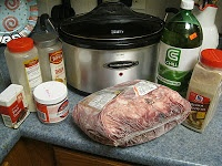 Lick Your Plate Clean Crockpot Pot Roast 3-5 lb. pot roast (sirloin tip or other) 1/2 cup flour 1 envelope brown gravy mix : (I buy mine in bulk at the wholesale club, so I use approx. 1/4 cup) 1 envelope dry onion soup mix: ( I make my own see recipe below) 2 cups gingerale