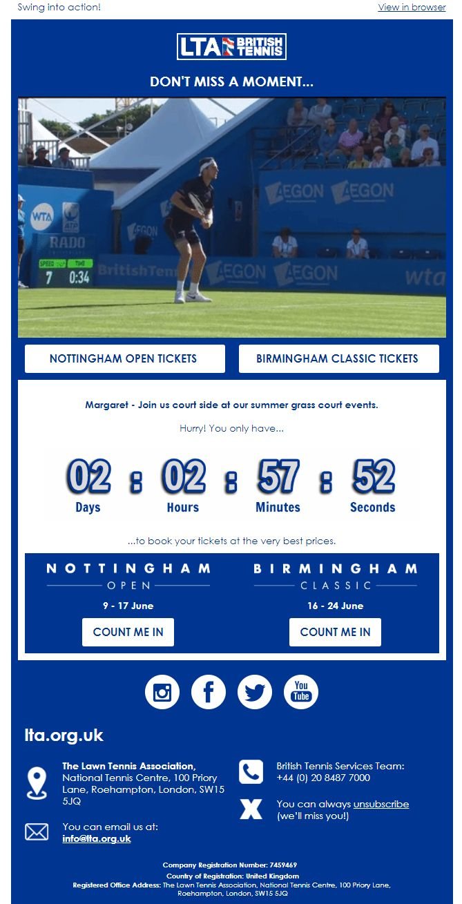 LTA Brittish Tennis, Email Marketing, Countdown Timers, Personalized Images, Email Examples, Real Time Content, Live Social Feeds, Dynamic Emails