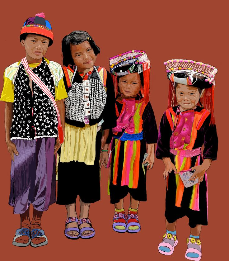 Enfants Thaï en costume.