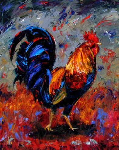 Rooster chicken art painting by Debra Hurd, painting by artist Debra Hurd