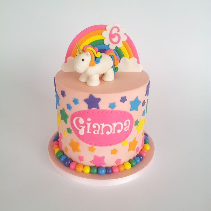 I loved every second of making this rainbow unicorn cake! The inside is rainbow colored too :)