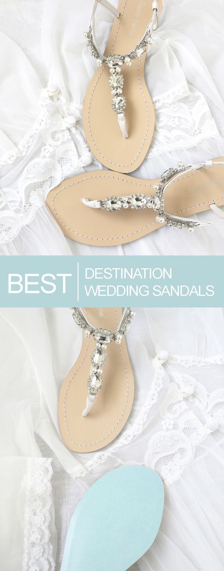 The Best Destination and Outdoor Wedding Sandals.  Bridal Flats and Sandals   Bella Belle Shoes. Pearl and rhinestone sandals.