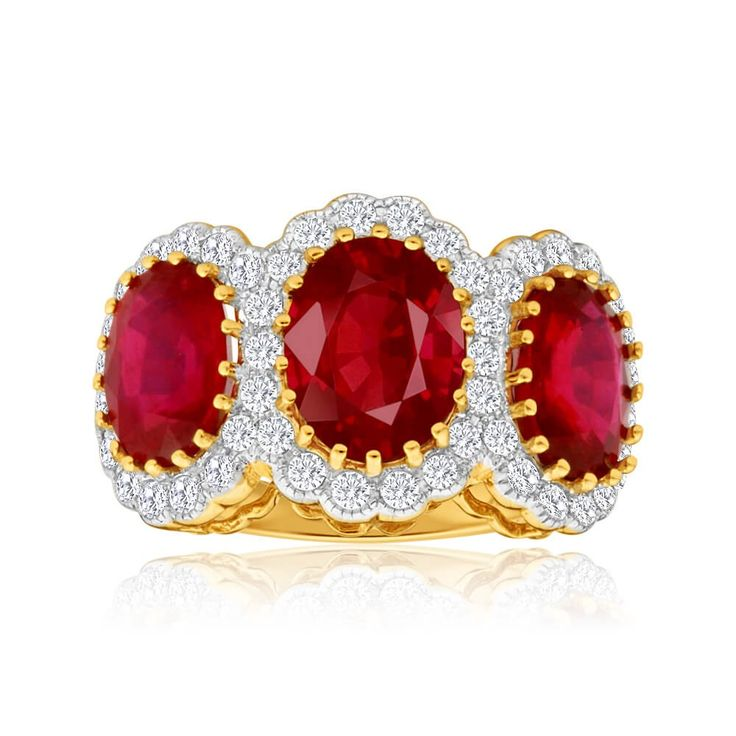 Royal look trilogy Ruby and Diamond Ring in 18ct Gold. Love this bold style of jewellery!