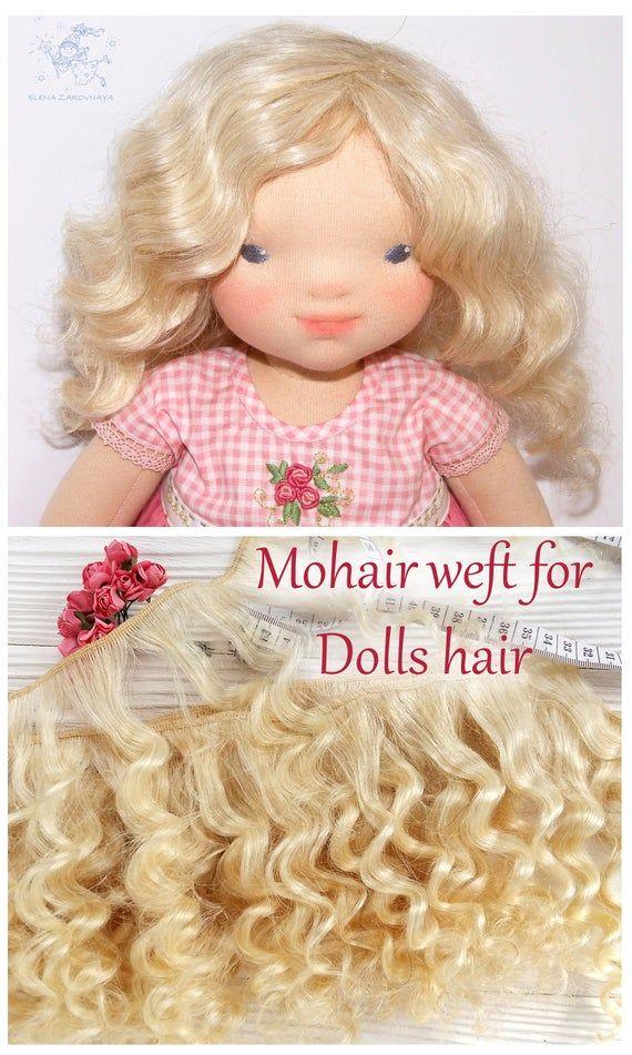 coarse mohair weft Blond, deep wave, dollmaking, waldorf doll hair, Blythe hair