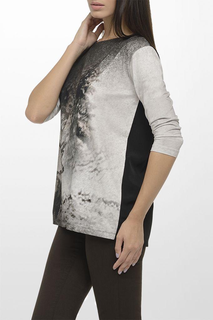 Sarah Lawrence - 3/4 sleeve printed blouse, five pocket straignt leg pant.
