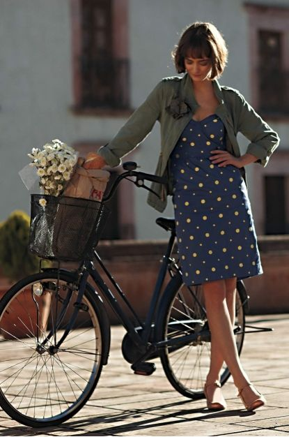 How great would it be to live somewhere I could bike around like this to run errands...: Riding A Bike, Summer Picnic, Polka Dots Dresses, Jeans Jackets, Cute Dresses, Bike Baskets, Cycling Chic, Army Jackets, Bike Styles