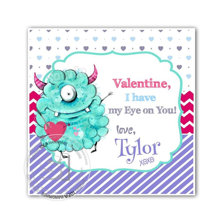 """Valentine's day Custom Printable Tags- 2.5"""" Tags-Happy Valentine's Day Personalized 2.5 inches Tags- Stickers DIY Favor Tags-cute Monster Valentines tags"""