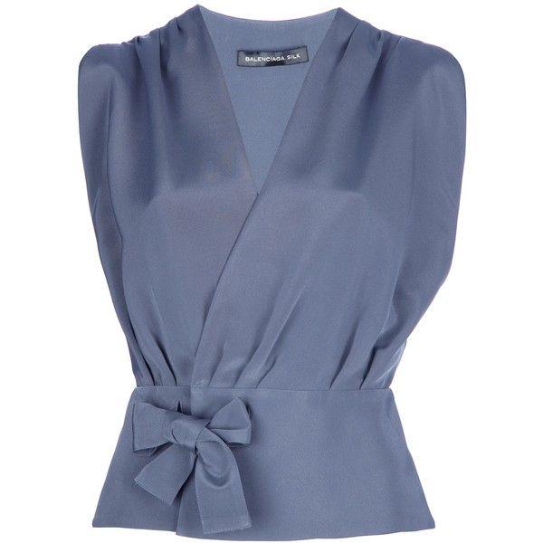 BALENCIAGA wrap blouse (€345) ❤ liked on Polyvore featuring tops, blouses, shirts, surplice blouse, wrap blouse, v neck sleeveless shirt, blue shirt and sleeveless tops