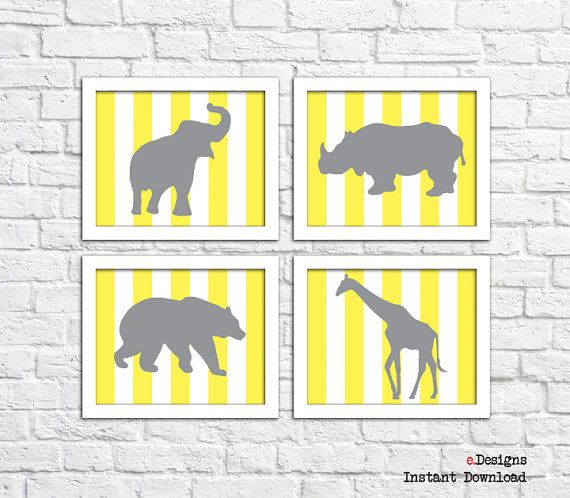 Printable Yellow Nursery Wall Art Jungle Animals Wall by eDesignss