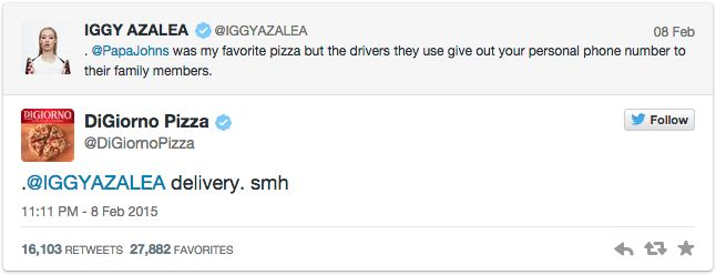 "Post 7: Not too long ago, Australian singer/rapper, Iggy Azalea, ranted about her Papa John's experience on Twitter. Azalea claimed that one of Papa John's' drivers gave her personal phone number to their family members. DiGiorno Pizza used this as a marketing opportunity for their frozen pizzas sold in stores. (Smh is text abbreviation for ""shaking my head"")"