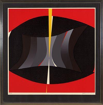 GUNNAR S. GUNDERSEN FØRDE 1921 - BÆRUM 1983  Komposisjon i sort og rødt Fargeserigrafi, X/XXV. 60x60 cm Signert nede til høyre: Gunnar S.