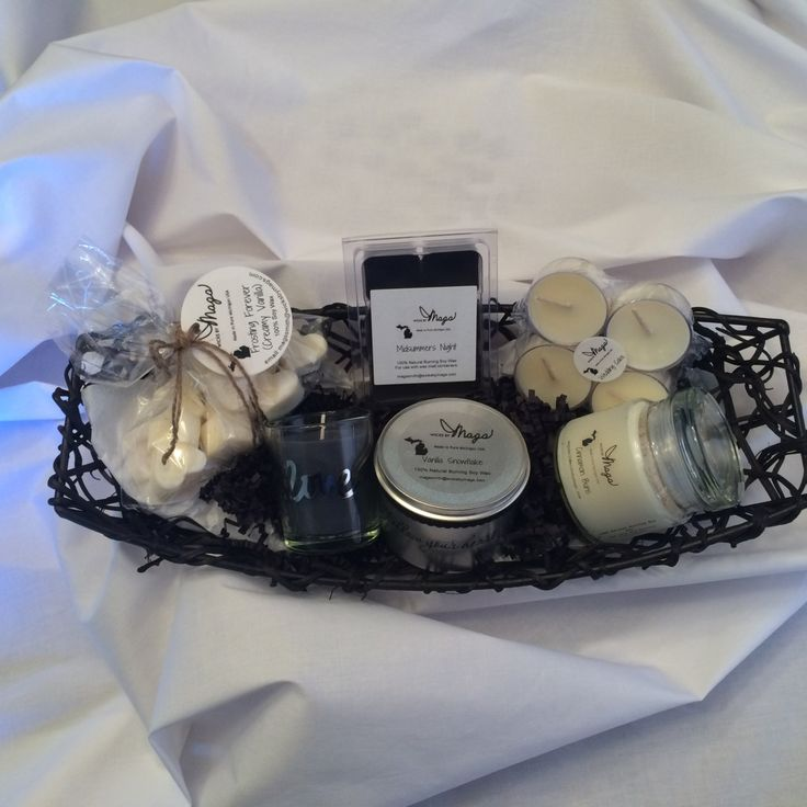 """8 pc. Soy Candle Gift Basket for the """"hard to buy for"""" person in your life- Black & White Theme Basket features several scents. by WicksbyMags on Etsy"""