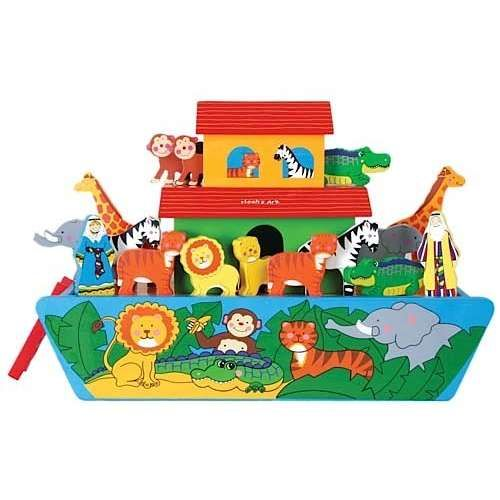 Hand Painted Wooden Noahs Ark Toy Playset Includes Noah