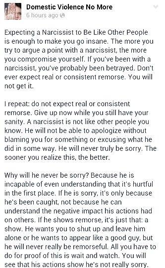 No real remorse... Narcissistic Abuse A Help for narcissistic sociopath victims.