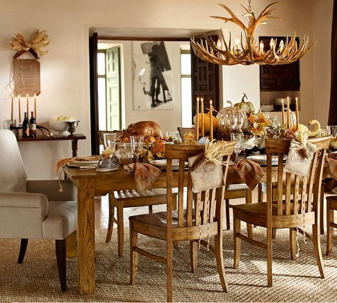 Corn Husks tied to the backs of the chairs. #holidayentertaining