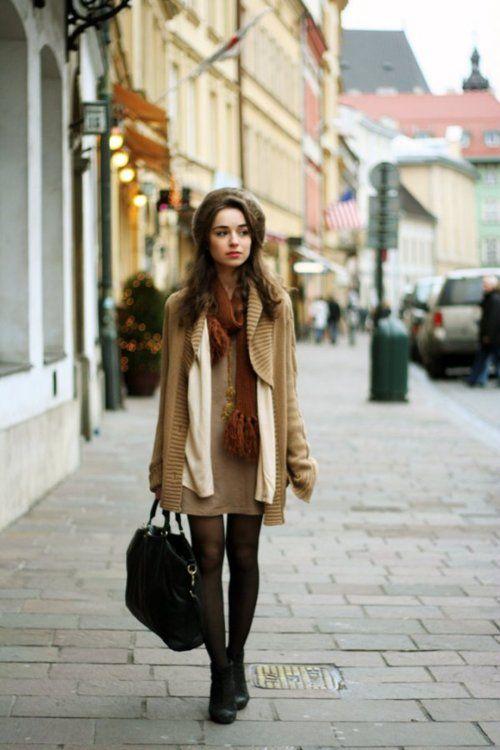 Beige dress and jacket, cream cardi, tights, black heels and bag, orange scarf, fur hat