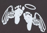 Baby feet with angel wings and halo. I want 2 of them for the twins... 1 in blue and 1 in pink