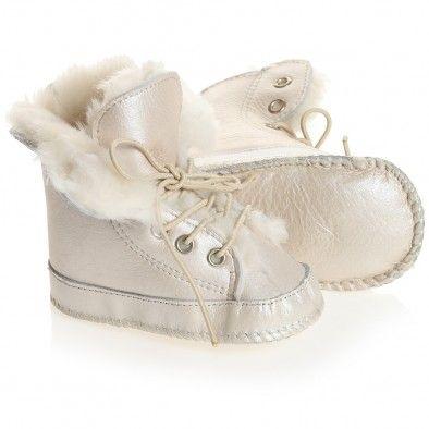 En Fant Ivory Pre-Walker Sheepskin Lace-Up Bootees at Childrensalon.com
