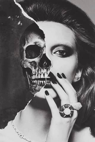 "I like the divide between the skull and beauty, how it's ripped the photo in half. ""Beauty is only skin deep""."