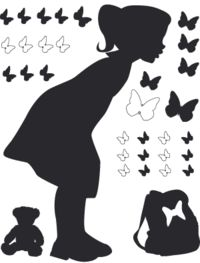 Sale Sticker Girl - Little Lou and butterflies - Wall Stickers by Commoi