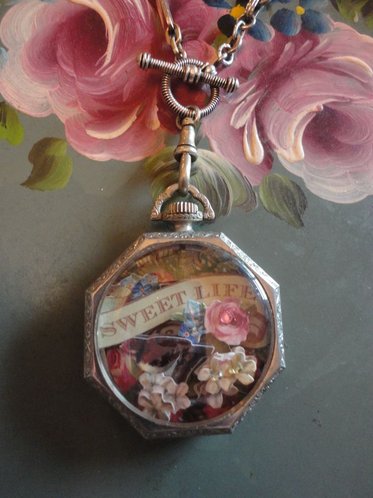 Sweet Life Collage in an Antique Pocket Watch Case  bonniearkin@gmail.com