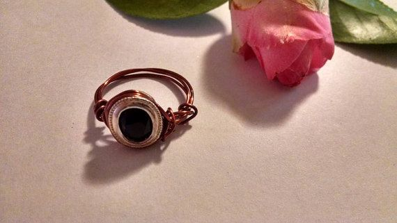 Unique Faceted Oval Black Onyx Wire Wrapped Ring by missy69