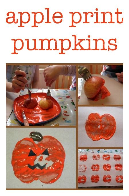 Pintar una calabaza utilizando media manzana
