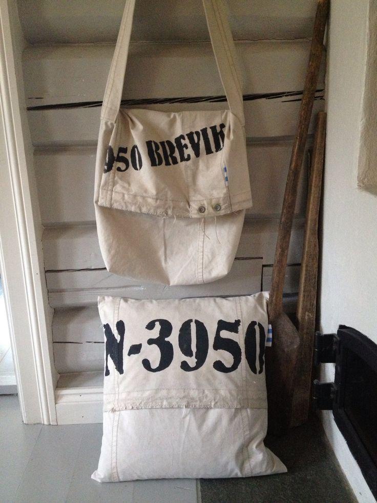 Veske og pute laget av gammelt seil og stofftrykk: N-3950