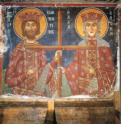 Emperor Constantine and his mother Helena, fresko from Kykkos Monastery in Pedoulas, Cyprus, end of 11th century