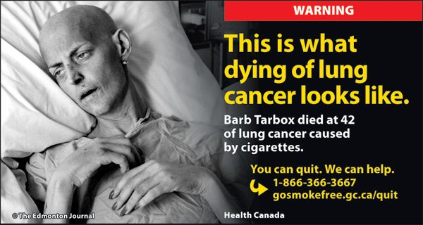 Canada has officially launched new cigarette warnings on packages...will they help smokers quit? Time will tell.     cigarettes-11-eng.jpg (600×320): Anti Smoke, Smokers Turning, Antismok Campaigns, Smokers Quit, Cigarette Warning, Tobacco Warning, Quit Smoke, Real Smokers, Addiction Recovery