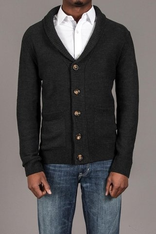 Carapace Shawl Collar Ribbed 5 Button Cardigan