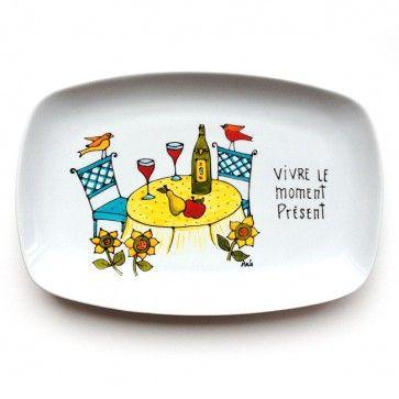 Assiette décorative • Vivre le moment présent - Vin et table. Peinte à la main par l'artiste Isabelle Malo du Québec, Canada. Cadeaux de retraite