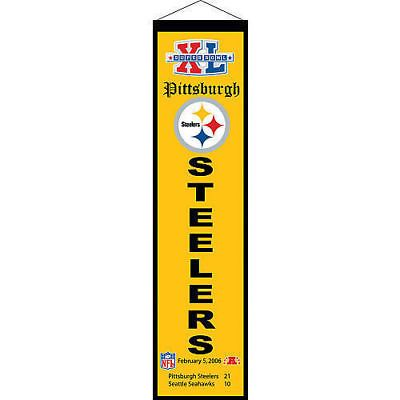 """Pittsburgh Steelers Super Bowl XL (40) 32"""" Embroidered Wool Heritage Banner NFL"""