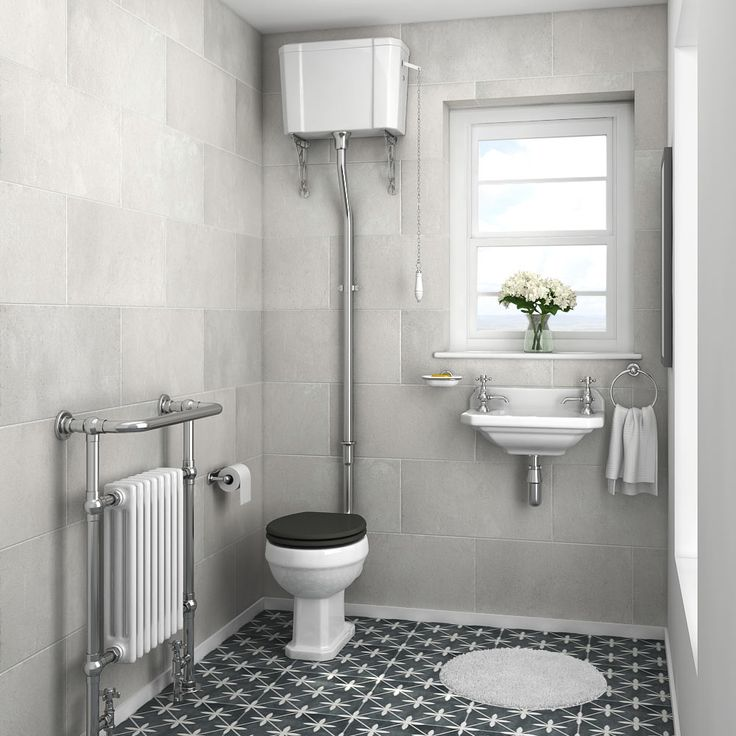 Carlton Traditional Cloakroom Suite - High level Toilet + Wall Hung Basin