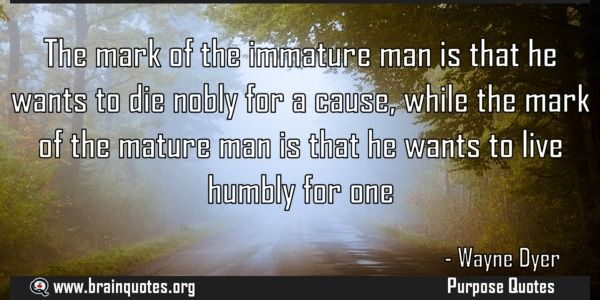 The mark of the immature man is that he wants to die nobly for a cause while  The mark of the immature man is that he wants to die nobly for a cause while the mark of the mature man is that he wants to live humbly for one  For more #brainquotes http://ift.tt/28SuTT3  The post The mark of the immature man is that he wants to die nobly for a cause while appeared first on Brain Quotes.  http://ift.tt/2dGzCH0