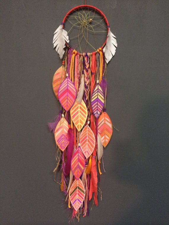 Coral Magic DreamCatcher with painted feathers by CosmicAmerican Rachael Rice