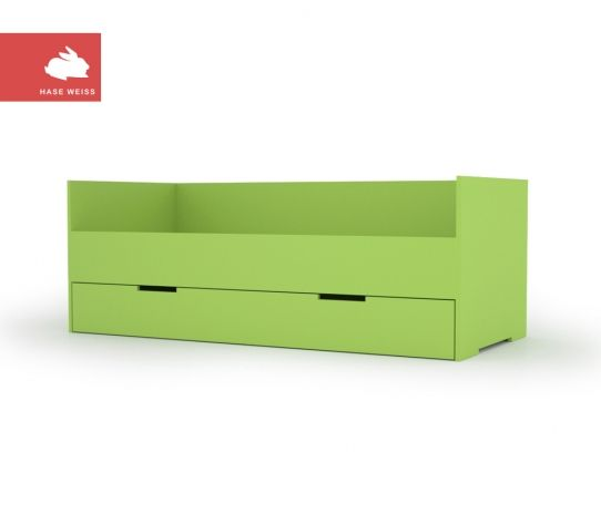 Bed with drawer ( Bett mit Schublade) This huge drawer is contains enough space for a second mattress for sleep over guests. Size 90x200cm avaiable in different colors