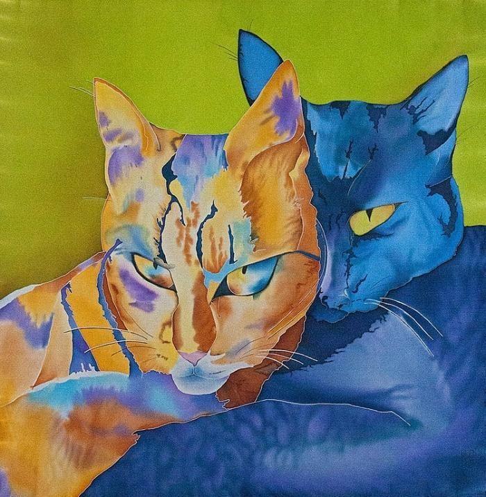 рисунки батиком эскизы картинки кошки новый выполнен жанре