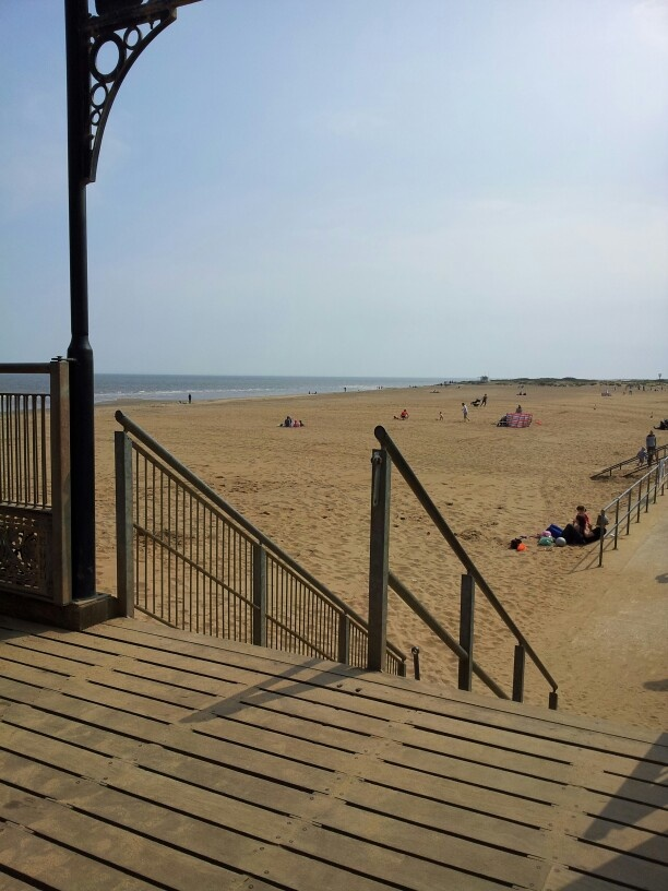 View of beach from Skegness Pier, Lincolnshire,UK