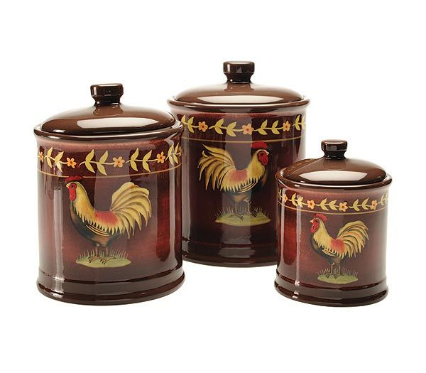 Exceptional Decorative Canister Sets | Rooster Floral Set Of 3 Canisters