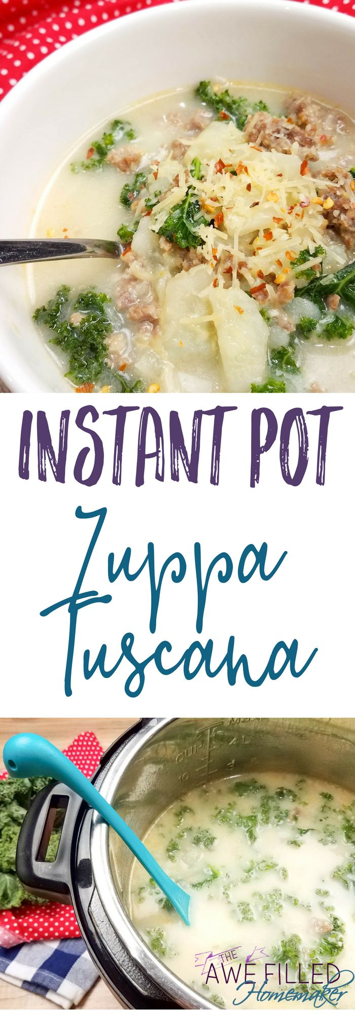 I love the warm comfort of Zuppa Tuscana from Olive Garden, so I had to try my hand at my own version in the instant pot! This copycat Zuppa Tusana is so good!
